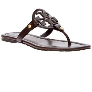 Tori Burch Miller sandals dark brown